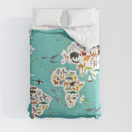 Cartoon animal world map for children and kids, Animals from all over the world back to school Comforters