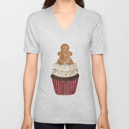 Gingerbread man Cupcake Unisex V-Neck