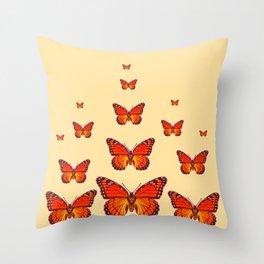 ORANGE MONARCH BUTTERFLIES CREAMY YELLOW Throw Pillow