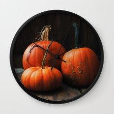 Three Pumpkins Wall Clock