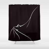 bat man Shower Curtains featuring BAT MAN by MISTER BLACKWHITE