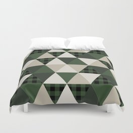 Hunter Green camping cabin glamping cheater quilt baby nursery gender neutral Duvet Cover