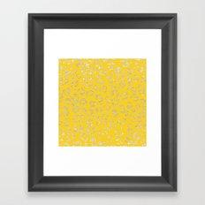 Modern faux gold glitter handdrawn leopard mustard pattern Framed Art Print