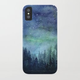 Watercolor Galaxy Nebula Northern Lights Painting iPhone Case