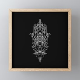 Beautiful Fatima Hand - The Hamsa, sharp, white graphic on black Framed Mini Art Print