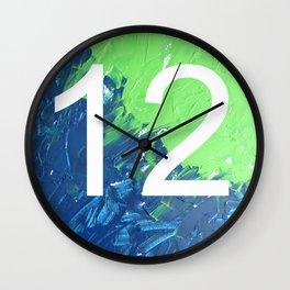 Blue & Green, 12, No. 4 Wall Clock