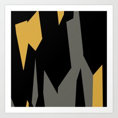 Black yellow and gray abstract Art Print