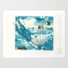 mermaid of Zennor collagraph 1 Art Print