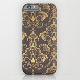 Gold foil swirls damask #10 iPhone Case