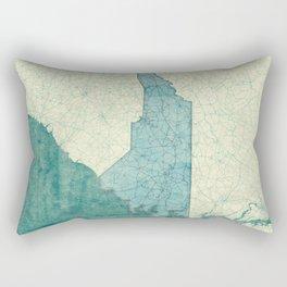 North Carolina State Map Blue Vintage Rectangular Pillow