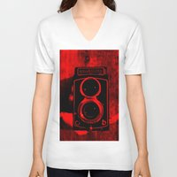 vintage camera V-neck T-shirts featuring Camera by short stories gallery