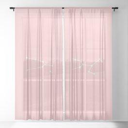 Taurus Star Sign Soft Pink Sheer Curtain