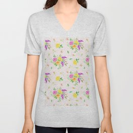 Watercolor Rose Pattern Unisex V-Neck