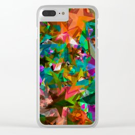Bright green stars from foil on orange shards of glass. Clear iPhone Case