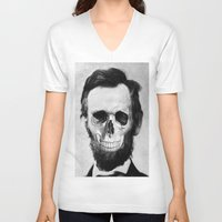 lincoln V-neck T-shirts featuring Lincoln by JoolySalas