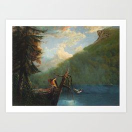 Old Man in the Mountain, White Mountains, New Hampshire landscape painting by Thomas Hill Art Print