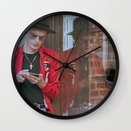 Young Man using Cell Phone, B Wall Clock