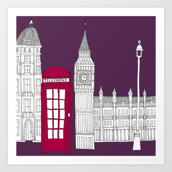 Night Sky // London Red Telephone Box Art Print