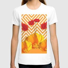 YELLOW & RED  POPPIES MODERN GOLDEN PATTERNS T-shirt