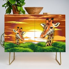 Giraffe on Wild African Savanna Sunset Credenza
