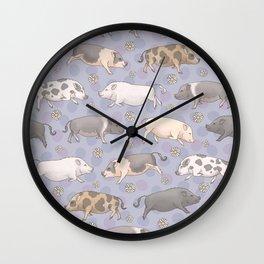 Mini Pig Parade - Purple Wall Clock