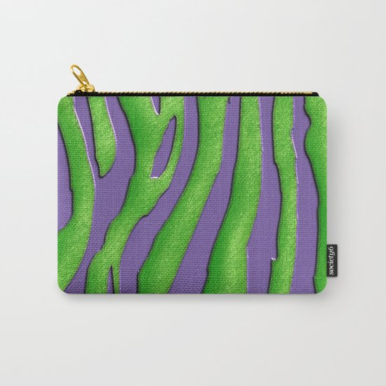 Bright Purple & Green Zebra Print Carry-All Pouch