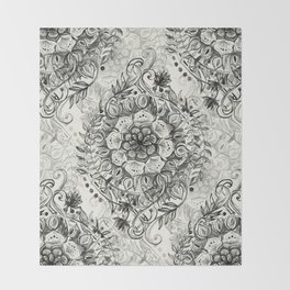 Messy Boho Floral in Charcoal and Cream  Throw Blanket