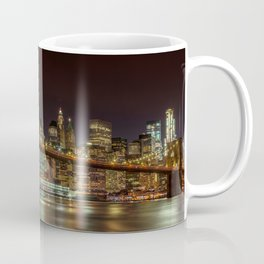 MANHATTAN SKYLINE & BROOKLYN BRIDGE Idyllic Nightscape | Panoramic Coffee Mug