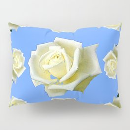 WHITE ROSES BLUE GARDEN DESIGN Pillow Sham