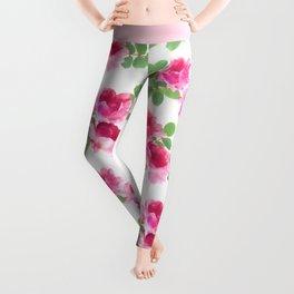 Raspberry Pink Painted Roses on White Leggings