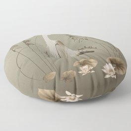 Heron and Lotus Flowers Floor Pillow