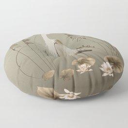 Heron and Lotus Flowers Floor Pillow