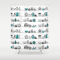kitchen Shower Curtains featuring Kitchen Doodle by The Babybirds