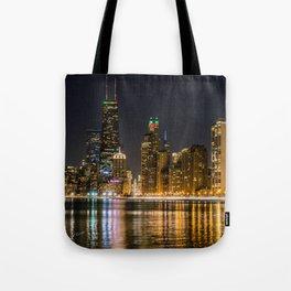Chicago North Shore Skyline Night Tote Bag