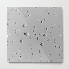 Convex drops and petals on a gray background in nacre. Metal Print