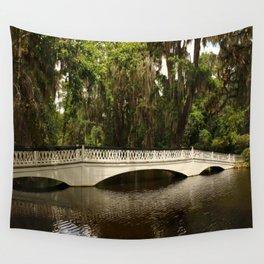 Beautiful White Magnolia Plantation Bridge Wall Tapestry