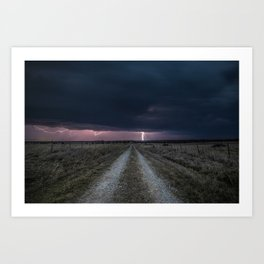 Darkness Falls - Lightning Strikes Down a Country Road at Night Art Print