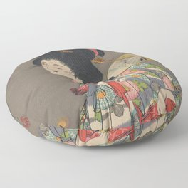Japanese Art Print - Woman and Fireflies Floor Pillow