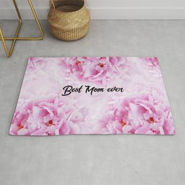 Pink Peonies Dream - Best Mom Ever #1 #floral #decor #art #society6 Rug
