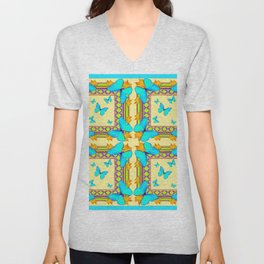Turquoise Butterflies Creamy Patterns Unisex V-Neck