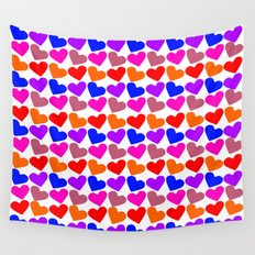Colorful Hearts Pattern Wall Tapestry