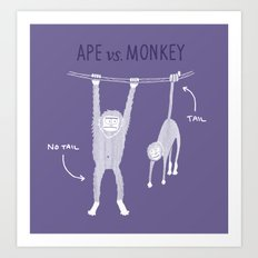 Ape vs. Monkey Art Print