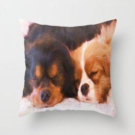 Sleeping Buddies Cavalier King Charles Spaniels Throw Pillow