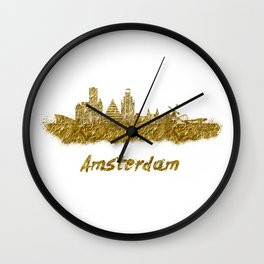 Amsterdam skyline in gold color Wall Clock
