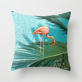 Abstract Flamingo and Palm leaf Throw Pillow