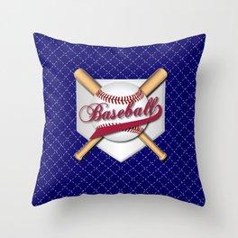 Baseball Logo on Dark Blue Background Throw Pillow