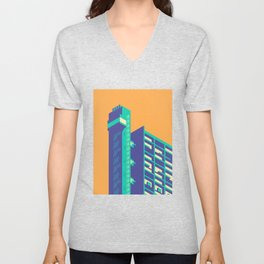 Trellick Tower London Brutalist Architecture - Plain Apricot Unisex V-Neck