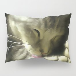 Soft And Gentle Fur And Purr Of A Grey Cat Pillow Sham