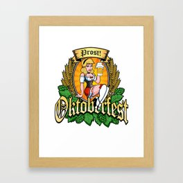 Oktoberfest German Prost Sexy Pin Up Girl Beer Label Framed Art Print