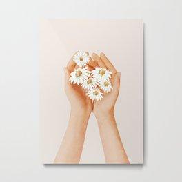 Hands Holding Flowers Metal Print